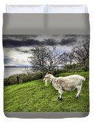 Goat Enjoying The View Duvet Cover