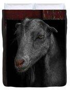 Goat In Red Barn Duvet Cover