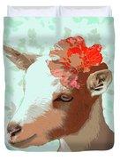 Goat With Flower Duvet Cover