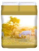 Goats Grazing At Sunset Duvet Cover