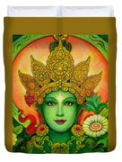 Goddess Green Tara's Face Duvet Cover