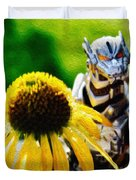 Godzilla With A Yellow Flower Duvet Cover
