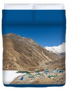 Gokyo Village And The Frozen Lake Duvet Cover