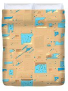 Gold And Aqua Mid-century Modern Duvet Cover