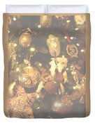Gold Christmas Tree Decorations Duvet Cover