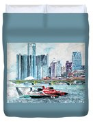 Gold Cup Race On Detroit River Duvet Cover