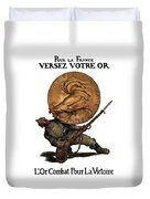 Gold Fights For Victory Duvet Cover