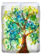 Gold Heart Valentine Tree Watercolor N Ink Duvet Cover