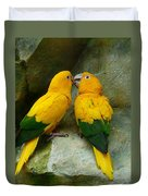 Gold Parakeets Duvet Cover
