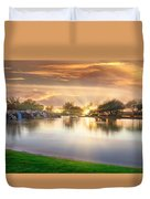 Gold Sunset At The Lake Duvet Cover