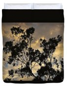Gold Sunset Tree Silhouette I Duvet Cover