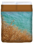 Gold Thistles And The Aegean Sea Duvet Cover