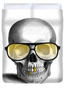 Skull With Gold Teeth And Sunglasses Duvet Cover