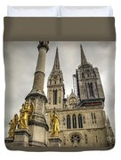 Golden Angel Statues In Front Of The Cathedral Duvet Cover