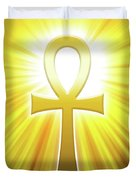 Golden Ankh With Sunbeams Duvet Cover