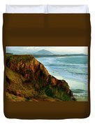 Golden Beach Cliff Side  Painterly Duvet Cover