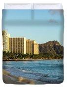 Golden Bliss On The Beach - Waikiki And Diamond Head Volcano Duvet Cover
