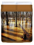 Golden Brown Frozen Pond Duvet Cover