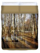 Golden Brown Pond Duvet Cover