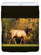 Golden Bull Elk Portrait Duvet Cover