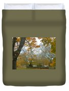 Golden Bus Stop Late Autumn Duvet Cover