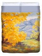 Golden California Sycamores Duvet Cover