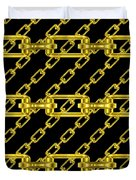 Golden Chains With Black Background Seamless Texture Duvet Cover