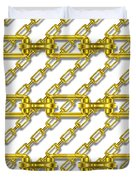 Golden Chains With White Background Seamless Texture Duvet Cover