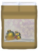 Golden Christmas Balls - 3d Render Duvet Cover