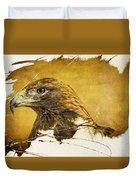 Golden Eagle Grunge Portrait Duvet Cover