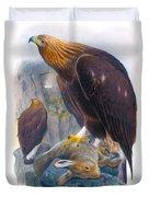 Golden Eagle Antique Print John Gould Birds Of Great Britain Duvet Cover