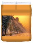 Golden Early Morning Sun Rays On The Farm Chesterhurst L B Duvet Cover