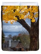 Golden Fall Colors Over Iron Works Duvet Cover