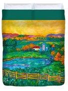 Golden Farm Scene Sketch Duvet Cover