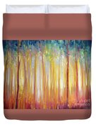 Golden Forest Hidden Unicorn - Large Original Oil Painting By Gill Bustamante Duvet Cover