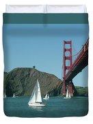 Golden Gate Bridge And Sailboats Duvet Cover