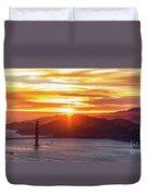 Golden Gate Bridge And San Francisco Bay At Sunset Duvet Cover
