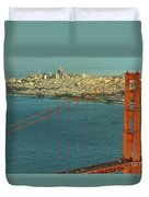 Golden Gate Bridge And San Francisco Skyline Duvet Cover