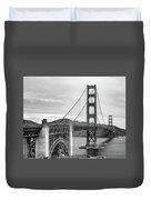 Golden Gate Bridge Black And White Duvet Cover