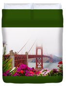 Golden Gate Bridge Flowers 2 Duvet Cover