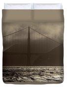 Golden Gate Bridge In The Fog, Black And White, San Francisco, California Duvet Cover