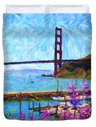 Golden Gate Bridge Viewed From Fort Baker Duvet Cover by Wingsdomain Art and Photography