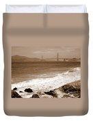 Golden Gate Bridge With Shore - Sepia Duvet Cover
