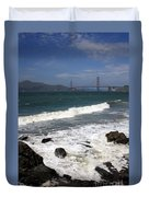 Golden Gate Bridge With Surf Duvet Cover