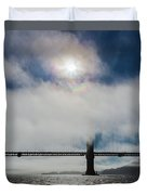 Golden Gate Silhouette And Rainbow Duvet Cover