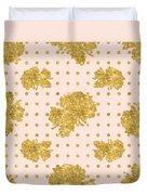 Golden Gold Blush Pink Floral Rose Cluster W Dot Bedding Home Decor Duvet Cover