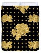 Golden Gold Floral Rose Cluster W Dot Bedding Home Decor Art Duvet Cover