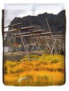 Golden Gras And Fish Drying Rack Duvet Cover by Heiko Koehrer-Wagner