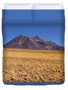 Golden Grasslands And Miniques Volcano Chile Duvet Cover
