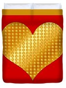 Golden Heart Red Duvet Cover